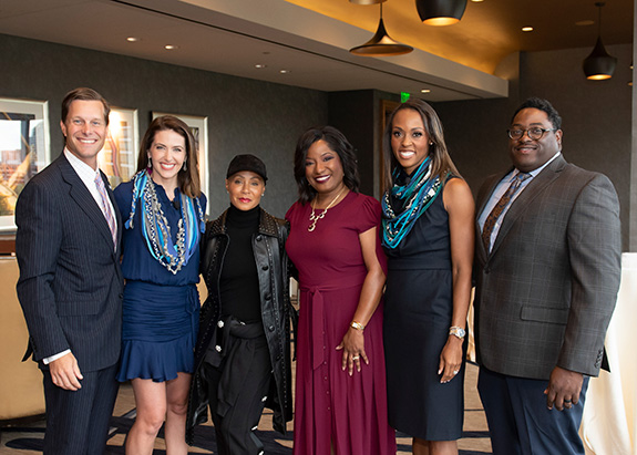 Co-Chair Clayton Huffstutter, Co-Chair Shelly Slater, Jada Pinkett Smith, NFNL CEO Kim Robinson, Co-Chair Christa Sanford, and Co-Chair Ketric Sanford