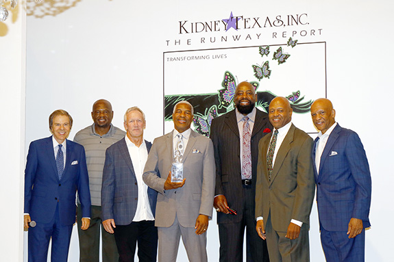 """Scott Murray, emcee on stage with former Dallas Cowboys players Michael Downs, Doug Donley, Everson Walls who was presented with the Inaugural Everson Walls Legacy Award; Ed """"Too Tall"""" Jones, Timmy Newsome, and Drew Pearson"""