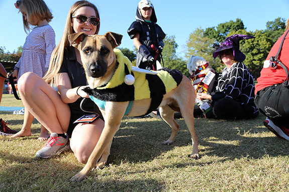 Leah, a student at Texas Women's University, waits in line with her dog Winnie, so judges can see Winnie's bee costume.