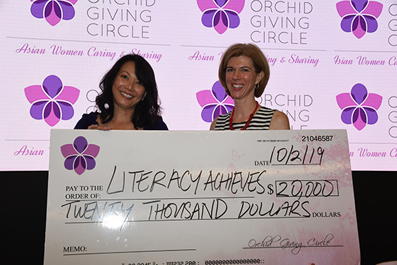 Literacy Achieves: Pam Okada, Orchid Giving Circle and Sarah Papert, Literacy Achieves