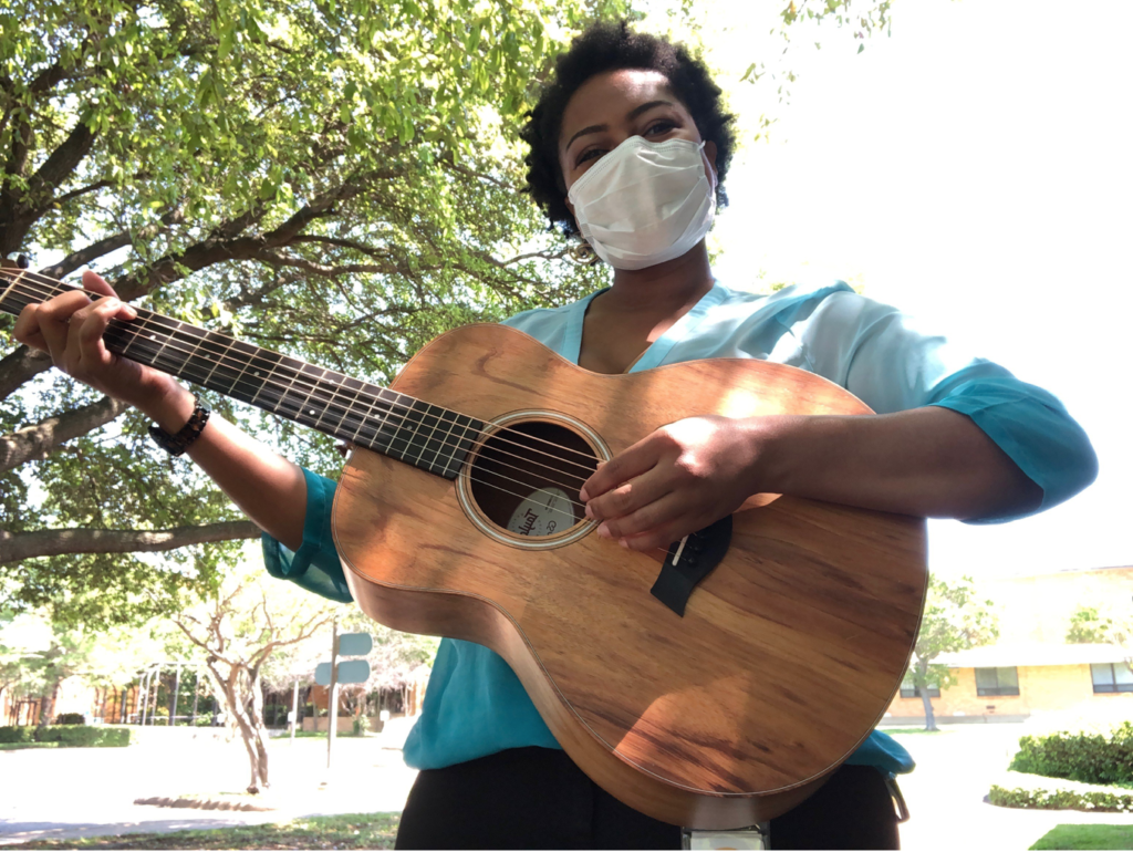 """Visiting Nurse Association of Texas Hospice music therapists provide """"front porch concerts"""" for Meals on Wheels clients. (PHOTO: COURTESY VNA)"""