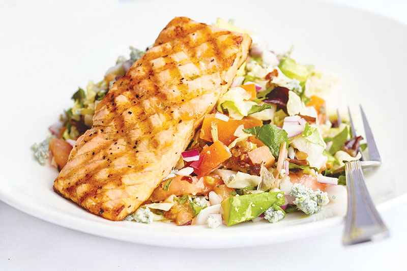 Al Biernat's: Grilled salmon with chopped salad